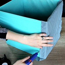 Upstyling storage boxes with fabric