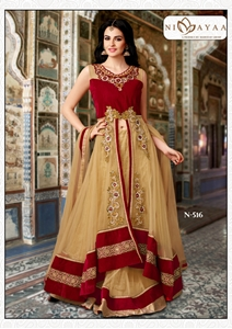 womens beige art silk lehenga choli