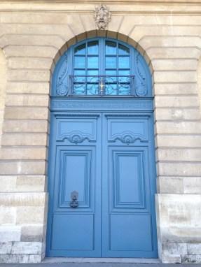 Beautiful blue door at Place Vendôme