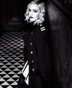 Madonna in Dior vintage jacket, Wolford stockings, la Perla Briefs - Harper's