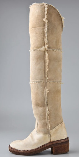 martin margiela SHEARLING overthe knee boots and crepe heel at shopbop on FASHIONDAILYMAG.COM BRIGITTE SEGURA
