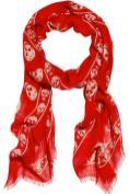 ALEXANDER-McQUEEN-skull-scarf-in-red-at-net-a-porter-in-BLEU-BLANC-ROUGE-goes-sunny-on-FDM-brigitte-segura