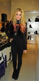 DJ Chelsea Leyland at STUART WEITZMAN 5ave opening on FashionDailyMag brigitte segura