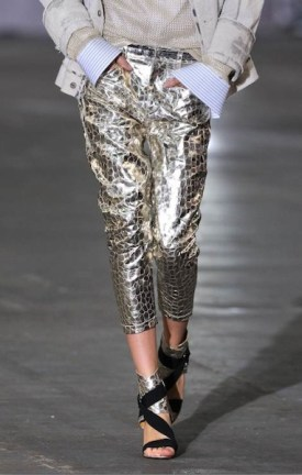 fdmLOVES DIESEL black gold crackled gold pants sel 2 sp 12 brigitte segura