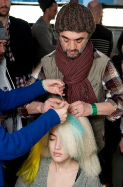 backstage hair braids JEREMY SCOTT fall 2012 milk studios FashionDailyMag