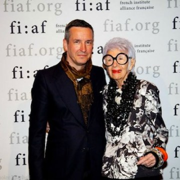 FASHION TALKS PHOTO DRIES VAN NOTEN AND IRIS APFEL FASHIONDAILYMAG FIAF FASHION TALKS