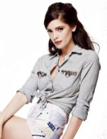 ashley greene in pink shorts and studded shirt