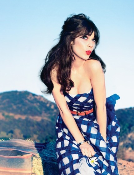 zooey deschanel interview blue dress | Glamour | fdmloves