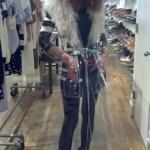 brigitte segura wearing puma wedges alice roi clear raincoat