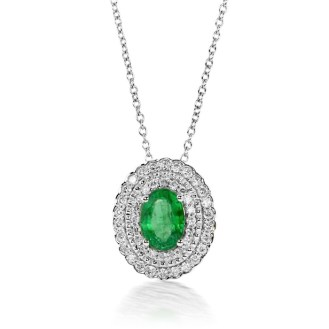 DiamondEnvy1.00 Carat Natural Emerald and Diamond Pendant in 14K White Gold for $1,130.00