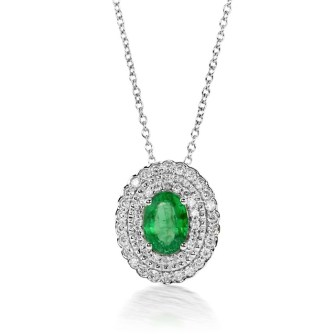 DiamondEnvy1.00 Carat Natural Emerald and Diamond Pendant in 14K White Gold for $1,130.00
