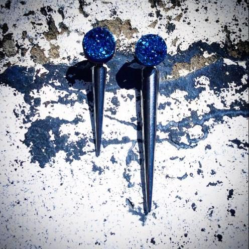 Blue Druzy Gunmetal Spikes HEATHER LJOENES FashionDailyMag sel 15