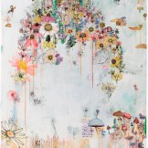 sage vaughn (Libra) 2015 Acrylic, Envelopes, Ink, Paper Towels, and Velum on Paper 46.5 inches x 60 inches