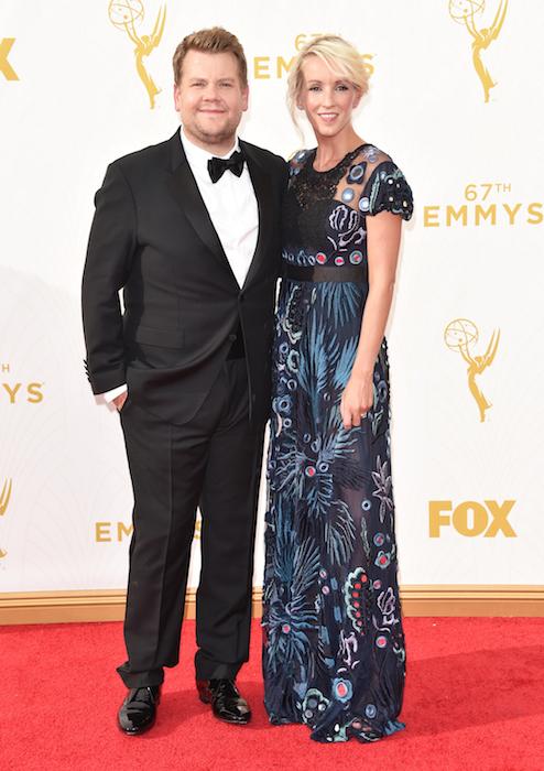 James Corden (L) and producer Julia Carey Emmys 2015