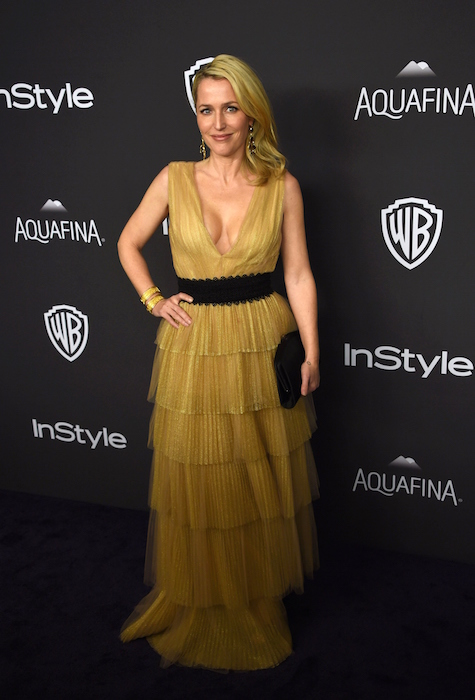 Gillian Anderson attends the 2016 InStyle And Warner Bros. 73rd Annual Golden Globes after party