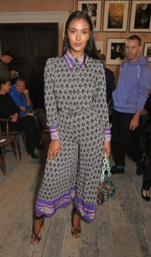 LONDON, ENGLAND - SEPTEMBER 16: Maya Jama wearing Burberry at the Burberry September 2017 at London Fashion Week at The Old Sessions House on September 16, 2017 in London, England. Pic Credit: Dave Benett
