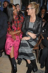LONDON, ENGLAND - SEPTEMBER 16: Naomi Campbell (L) and Kate Moss wearing Burberry at the Burberry September 2017 at London Fashion Week at The Old Sessions House on September 16, 2017 in London, England. Pic Credit: Dave Benett