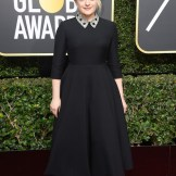 Elisabeth Moss in dior at 75th golden globes fashiondailymag