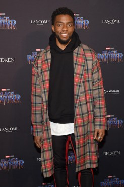 NEW YORK, NY - FEBRUARY 12: Chadwick Boseman attends the Marvel Studios Black Panther Welcome to Wakanda New York Fashion Week Showcase at Industria Studios on February 12, 2018 in New York City. (Photo by Jamie McCarthy/Getty Images for Marvel)