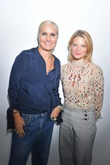 PARIS, FRANCE - SEPTEMBER 24: Maria Grazia Chiuri and Melanie Thierry pose backstage after the Christian Dior show as part of the Paris Fashion Week Womenswear Spring/Summer 2019 on September 24, 2018 in Paris, France. (Photo by Victor Boyko/Getty Images) *** Local Caption *** Maria Grazia Chiuri; Melanie Thierry