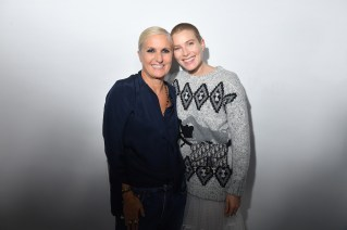 PARIS, FRANCE - SEPTEMBER 24: Maria Grazia Chiuri and Dree Hemingway pose backstage after the Christian Dior show as part of the Paris Fashion Week Womenswear Spring/Summer 2019 on September 24, 2018 in Paris, France. (Photo by Victor Boyko/Getty Images) *** Local Caption *** Maria Grazia Chiuri; Dree Hemingway