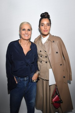 PARIS, FRANCE - SEPTEMBER 24: Maria Grazia Chiuri and Levante pose backstage after the Christian Dior show as part of the Paris Fashion Week Womenswear Spring/Summer 2019 on September 24, 2018 in Paris, France. (Photo by Victor Boyko/Getty Images) *** Local Caption *** Maria Grazia Chiuri; Levante