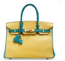 A CUSTOM MATTE MIMOSA AND BLEU PAON POROSUS CROCODILE BIRKIN 30 WITH BRUSHED GOLD HARDWARECHANEL and BIRKIN handbags x hype christies FashionDailyMag fashion brigitteseguracurator