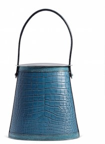 A MATTE COLVERT ALLIGATOR & BLEU PETROL NILOTICUS LIZARD STROMBOLI BAG WITH STERLING SILVER HARDWARE AND LIDCHANEL and BIRKIN handbags x hype christies FashionDailyMag fashion brigitteseguracurator