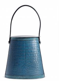 A MATTE COLVERT ALLIGATOR & BLEU PETROL NILOTICUS LIZARD STROMBOLI BAG WITH STERLING SILVER HARDWARE AND LIDCHANEL and BIRKIN handbags x hype christies FashionDailyMag fashion brigitteseguracurator