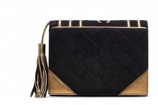 CHANEL A RUNWAY BLACK & GOLD SUEDE BIBLE CLUTCHCHANEL and BIRKIN handbags x hype christies FashionDailyMag fashion brigitteseguracurator