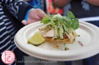 El Gastronomo Vagabundo - Spring onion & coconut pancake, smoked chicken, cucumber, radish, chili caramel, fresh lime