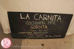 Cochinita Pibil Gordita - 'Little Fat One' (corn cake stuffed with pork, guacamole, cilantro, crema, anejo cheese, Habanero hot sauce by Jon Hamilton, La Carnita