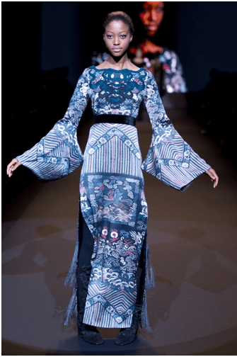 Water sleeve evening gown Vivienne Tam, Jade Collection Fall Winter 2011