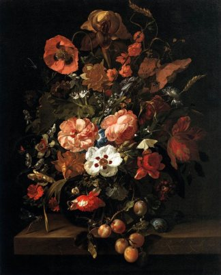 """""""Still Life with Flowers and Fruit"""" by Rachael Ruysch"""