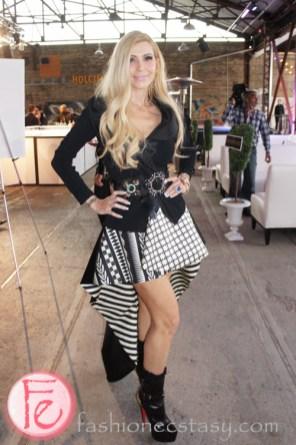 Sylvia Mantella wearing Fausto Puglisi dress, Giorgio Armani Jacket, Dolce & Gabbana belt, Louboutin Shoes