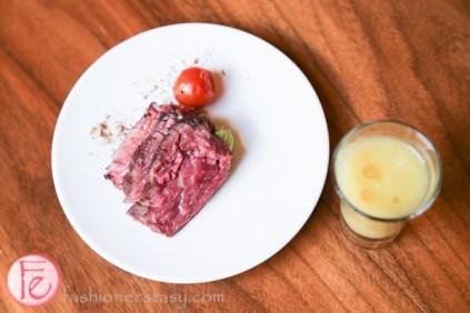 sous vide sirloin flap with yellow tomato soup