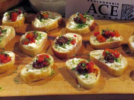 Eat to the Beat 2014 Ace Bakery - Fresh Burrata and Olive Tapenade with Roasted Red Pepper and Pea Shoot Sprinkle