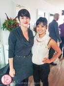 Amira de Vera and Sarah Evans from Pennant media group at Anthony Passero salon launch Yorkville