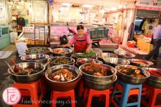 kimchi vendor at Gwangjang traditional Korean market