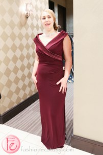 Eliza Johnson in red wine gown