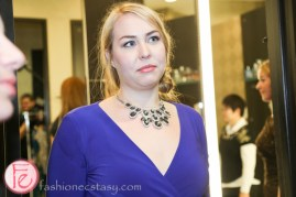 Eliza Johnson wearing blue sapphire necklace