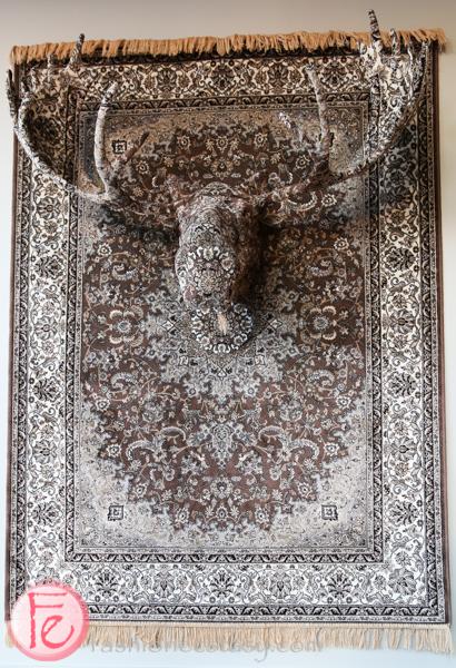 peter pan bistro moose head hanging rug