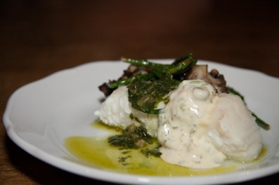 olive oil halibut with fiddlehead aioli porzia