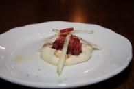 grilled octopus with semolina, apple & peanut