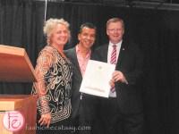 Jacopa Knaapen, Sergio Trujillo and Councillor Gary Crawford
