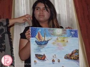 Sahar, Starlight child donating her painting Moonlight Pointilism