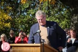 Orillia Mayor Steve Clarke at the unveiling of golden leaves – a tribute to gordon lightfoot