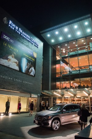 Exterior of Four Seasons Centre for the Performing Arts with Mercedes-Benz