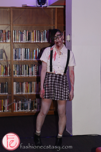 zombie at hush hush party in the library