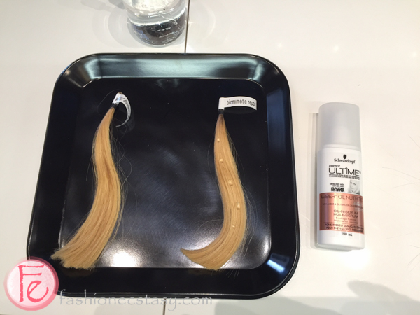 Schwarzkopf essence ULTIME without vs with biomimetic repair
